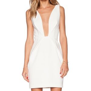 {finders keeper} deep plunge white dress