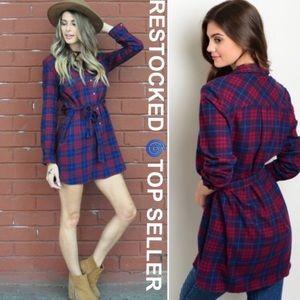 SALE❤️ Plaid Flannel Dress Tunic Cozy Shirt Belt