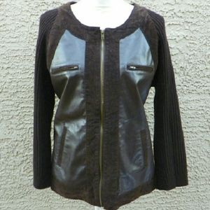 AMI Sweaters - 🎉HP🎈Vintage leather zip front sweater jacket