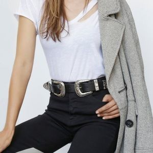Free People Vegan Double Buckle Belt
