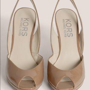 27c8287bdfb Michael Kors Shoes - Michael Kors Vivian Nude Patent Wedge Slingback