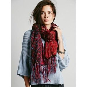 Free People Patchwork Leather Fringe Scarf