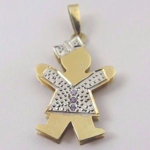 Jewelry - 14k Two Tone Gold Baby Girl Charm February Stone
