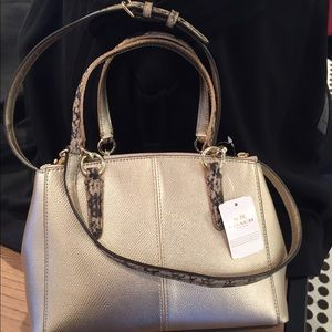 80cb1d774d ... germany coach bags coach small christie carryall in metallic leather  a141a fb1ca