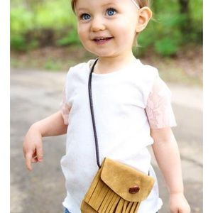 Toddler Faux Suede Crossbody Fringe Purse