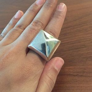 Vintage Jewelry - Sterling silver diamond square ring