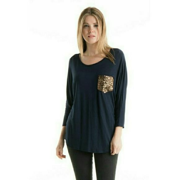 92365e19ffc Fashionomics Tops   Hp X2navy Sequin Pocket Shirt   Poshmark