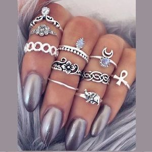 10-Piece Ring Set | Stackable Silver Rings | BNWT