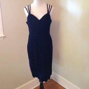 Vintage velvet blue dress