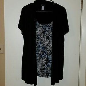 Womens 2x Black and turquoise dress shirt