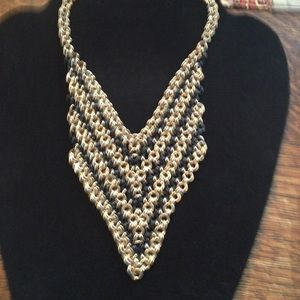 Jewelry - Double Link Black n Gold Bib Necklace