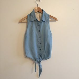 L'ATISTE by Amy Tops - Lace Back Button Up Tie Vest Top