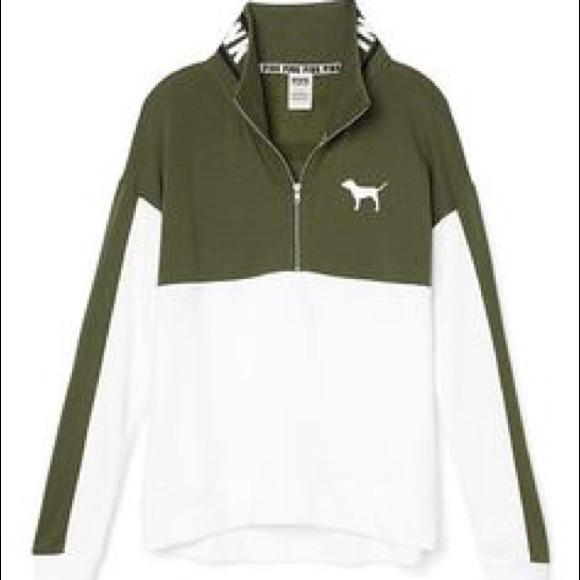 50% off PINK Victoria's Secret Sweaters - Olive Green Half Zip ...