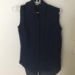 ASOS Sleeveless navy collared blouse
