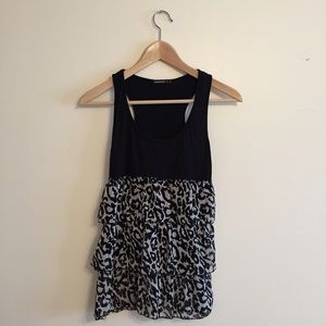 Fishbone Tops - Leopard Chiffon Tank Top