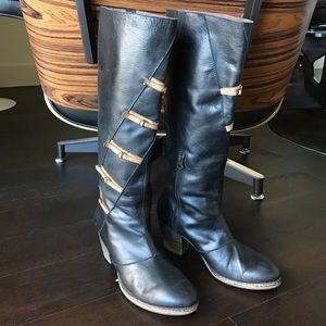 Anthro Holding Horses tall Leather Boots Sz 38