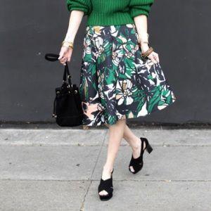 Scuba floral print skirt