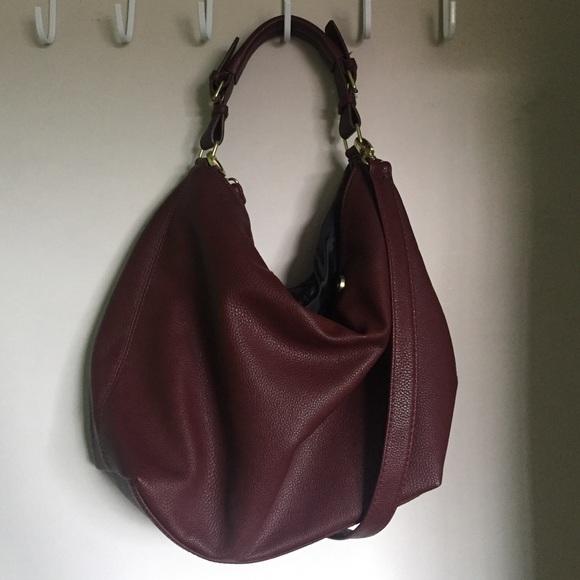 bb906bac6f H M Burgundy Hobo Bag