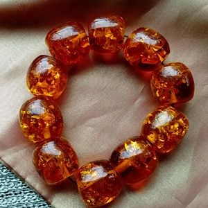 Huge Amber Beaded stretchy Bracelet