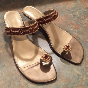 Ann Marino Shoes - Ann Marino beaded kitten heel sandal