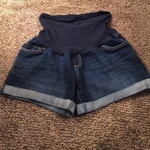 Motherhood maternity jean shorts!