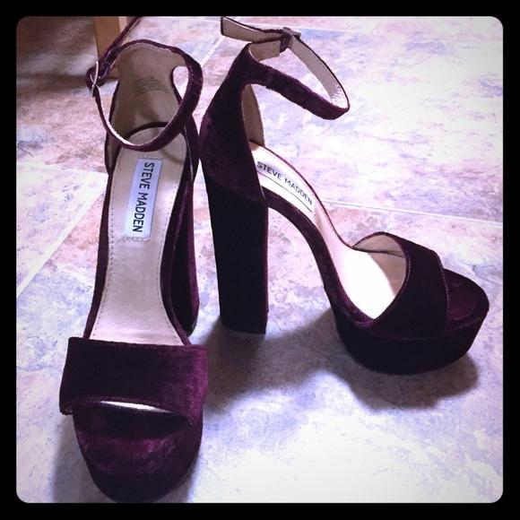444be8564eb GONZO Burgundy Velvet Platform Heels. M 5813f2a7713fdef261059350
