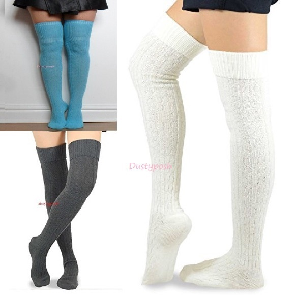 6609bcd90 Cable Knit Over The Knee Socks Thigh High Boot OTK
