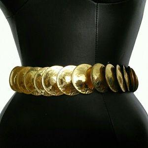 Vintage Accessories - BEAUTIFUL VINTAGE FISH SCALE ELASTIC GOLD BELT!!!