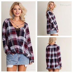 UMGEE Strappy Front Plaid Front Surplice Shirt
