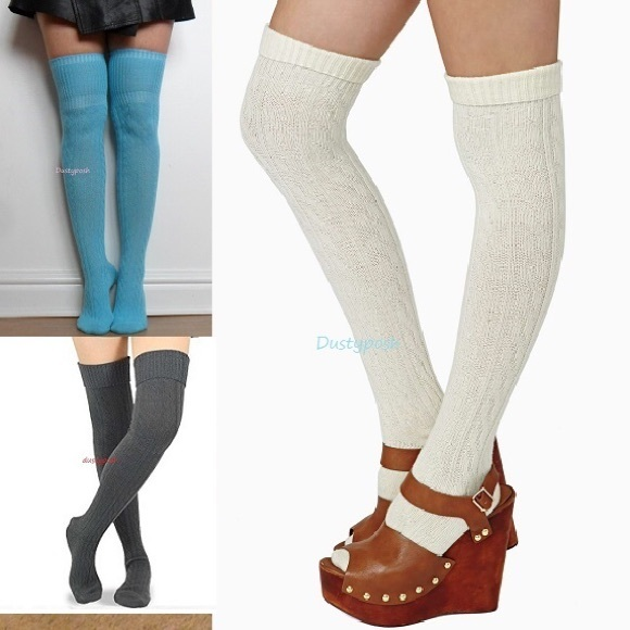 bed2aa47829 Cable Knit Over The Knee Socks Thigh High Cuff OTK. NWT. Dustyposh