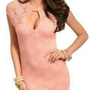 Dresses & Skirts - Sexy Floral Lace Keyhole Fitted Dress