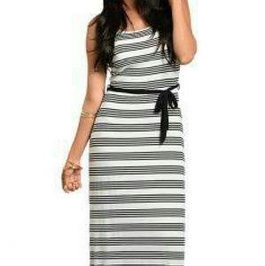 Dresses & Skirts - Striped  Maxi Dress With Sash