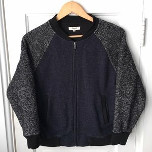 b64e614e8 Madewell Sweatshirt Bomber Jacket Blue Grey Sz M
