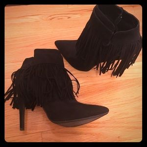 Black fringe booties size 8.5
