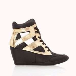 Forever 21 Shoes - Gold black cut out sneaker wedges high top tennies