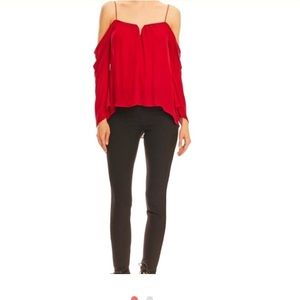 Nicole miller sculer cold shoulder blouse
