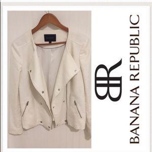 Banana Republic Jackets & Blazers - Banana Republic White Biker/Moto Jacket