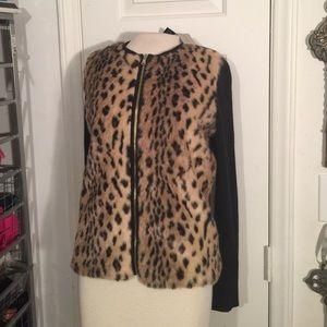 NWT Ann Taylor Petite Medium cheetah fur cardigan