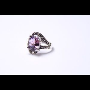 Sterling Silver marcasite ring with Amethyst