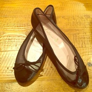 Pretty Ballerinas Shoes - Pretty Ballerinas - Black Net with Patent Toe 💰