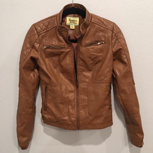 1b8b4fe24d4 Women s XS faux leather Moto jacket camel tan