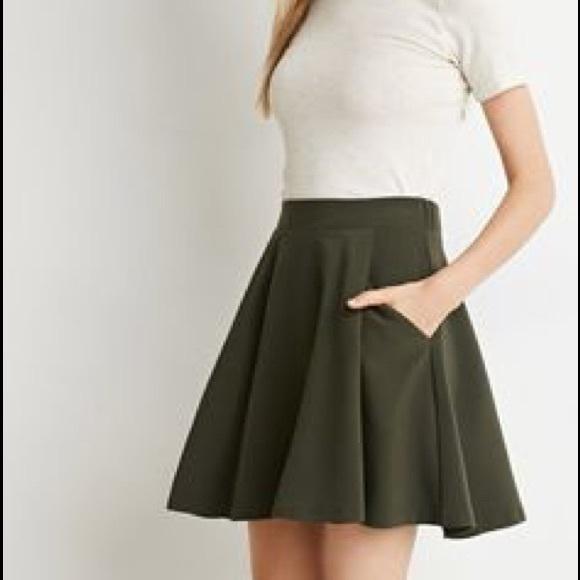 16270ad19238 Forever 21 Dresses   Skirts - Forever 21 Olive Green Skater Skirt