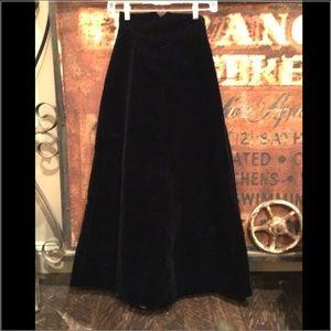 Vintage black velvet full length skirt