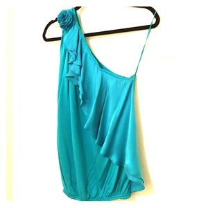 NWT Robert Rodriguez Turquoise One-Shoulder Top