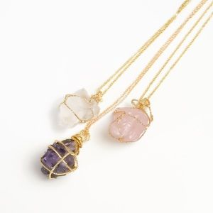 Jewelry - Raw stone pendant necklace (amethyst, rose quartz)