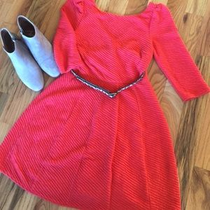 Karlie Orange Flare Dress