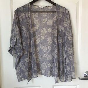 Bar III Tops - Chiffon Floral-Print Cropped Kimono