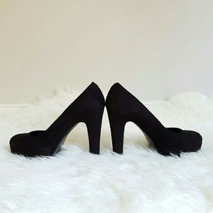 Call It Spring Shoes - {Call It Spring} Black Faux Suede Thick Heel Pumps