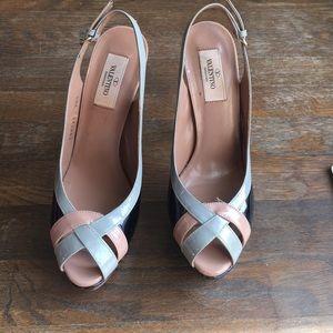 Valentino Shoes - Valentino patent leather platform sling backs