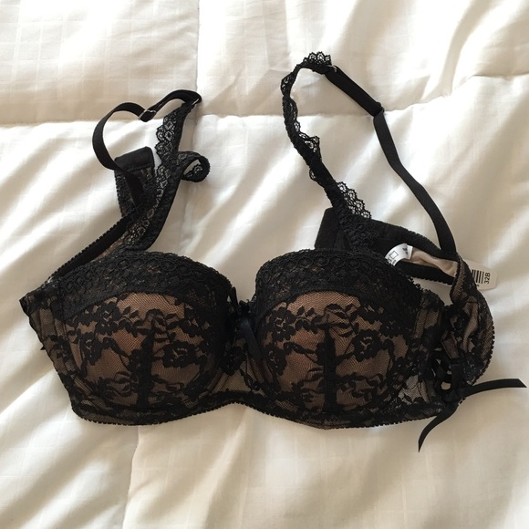 21276a95f2084 NWT  adore me  black and nude lace push up bra